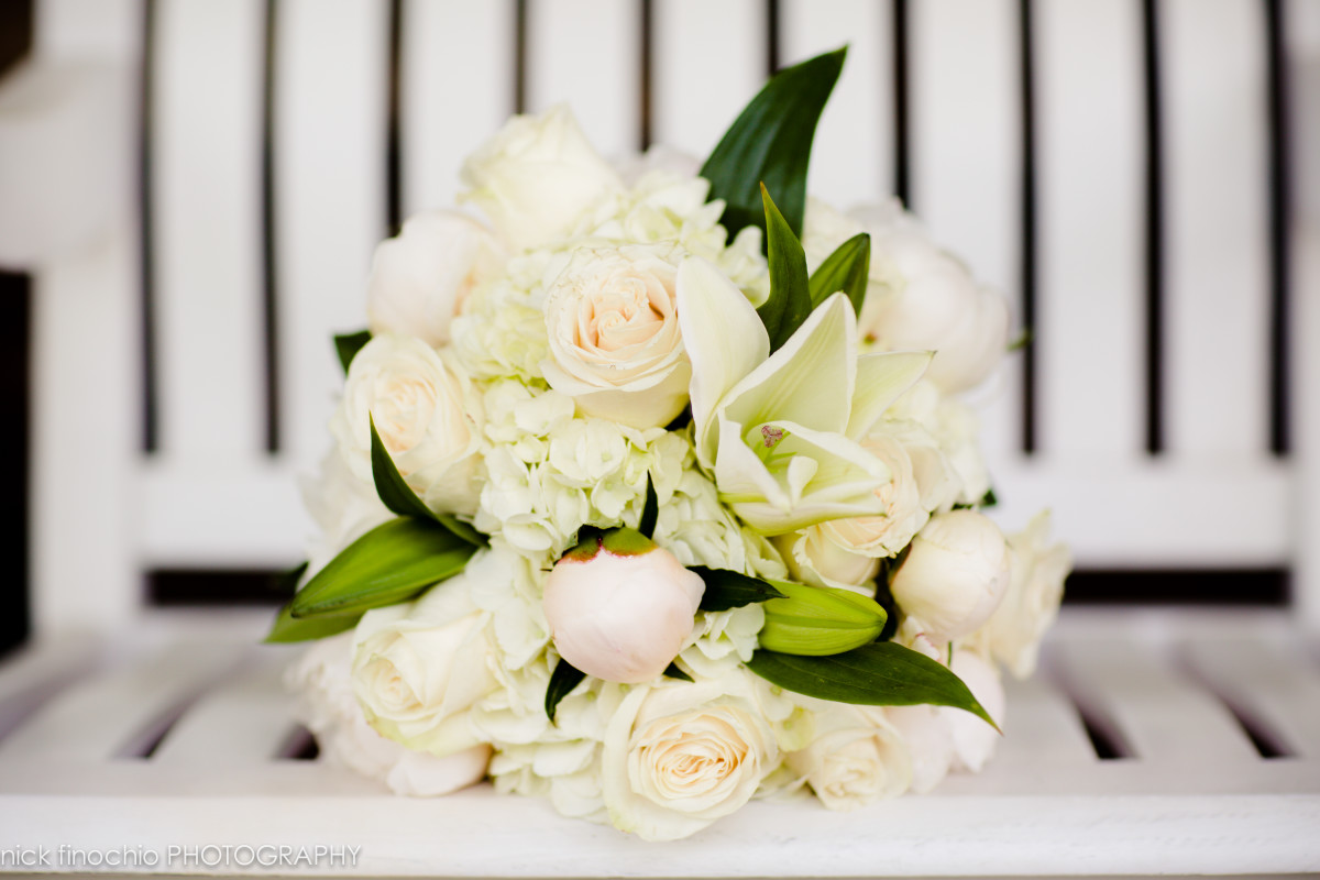 Casino at Lakemont Park Wedding: White and Green Bridal Bouquet