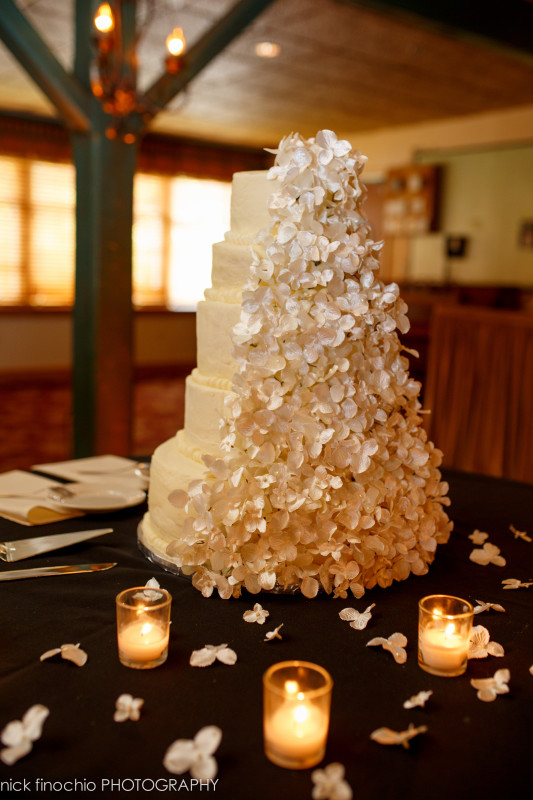 Casino at Lakemont Park Wedding Reception: Five-Tier White Cake