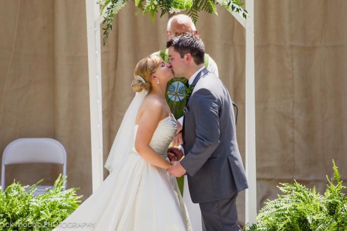 Casino at Lakemont Park Wedding Ceremony: First Kiss