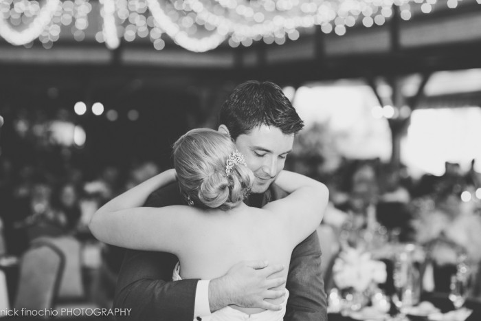 Casino at Lakemont Park Wedding Reception: Newlyweds Embrace on Dance Floor