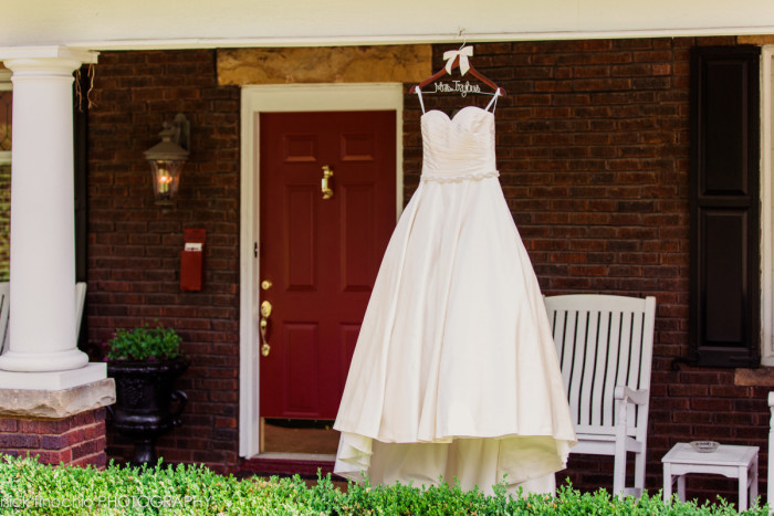 Casino at Lakemont Park Wedding: Dress in Rustic Country Backdrop