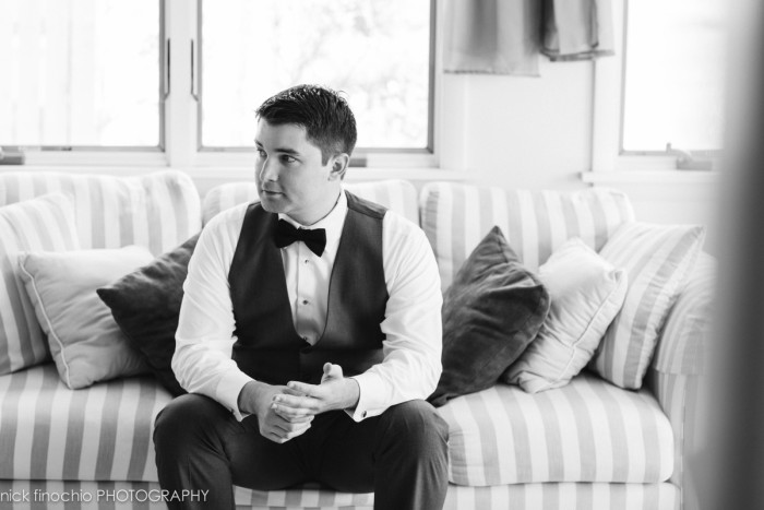 Casino at Lakemont Park Wedding: Groom in Vest and Bow Tie