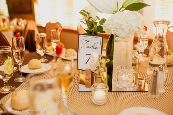 Casino at Lakemont Park Wedding Reception: Modest White Flower Centerpieces