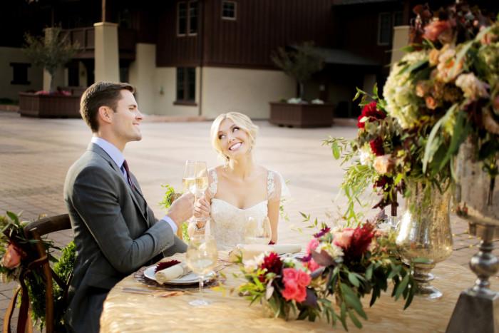 Hilton Garden Inn Southpointe Wedding Reception: Newlyweds at Table