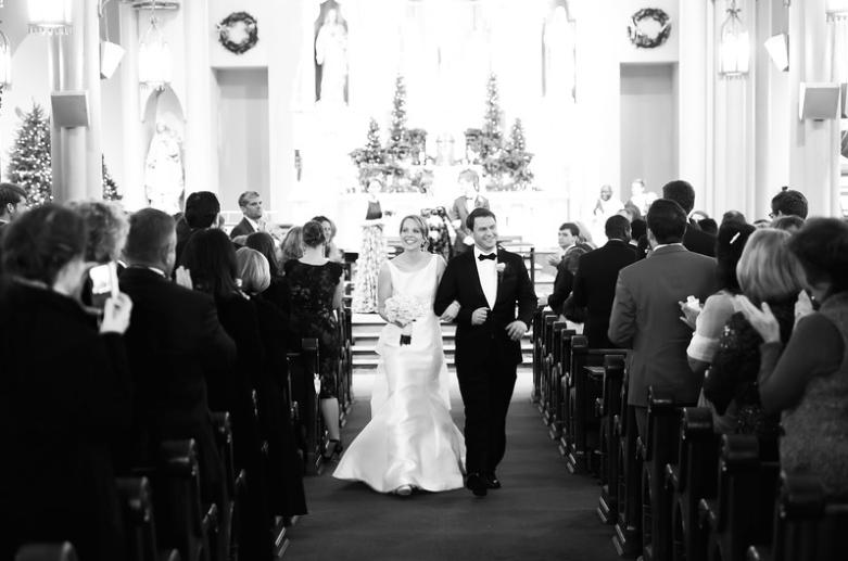 Longue Vue Club Pittsburgh Wedding Ceremony: Couple Exits Church