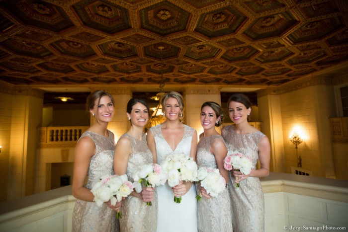 Duquesne University Ballroom Pittsburgh Wedding: Bridesmaids in Sparkling Cream Dresses