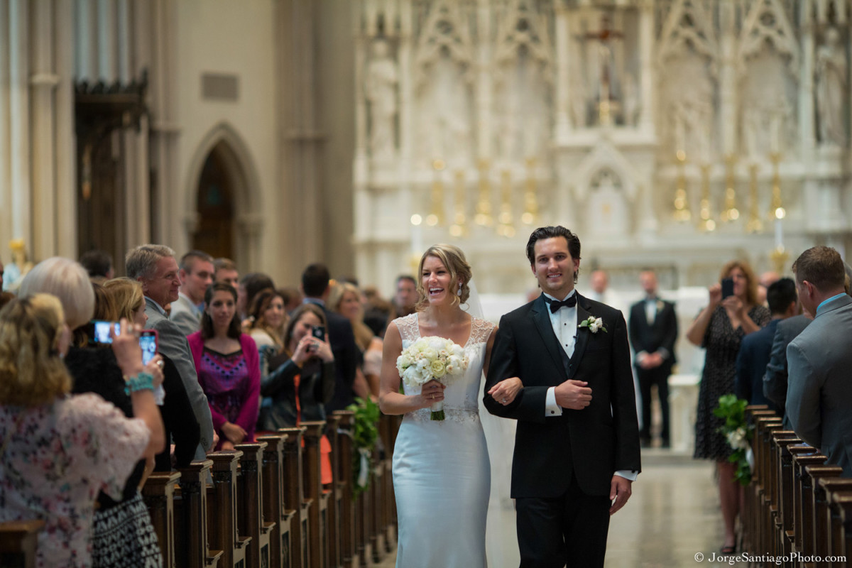 Duquesne University Ballroom Pittsburgh Wedding Ceremony: Happy Couple Exits Church