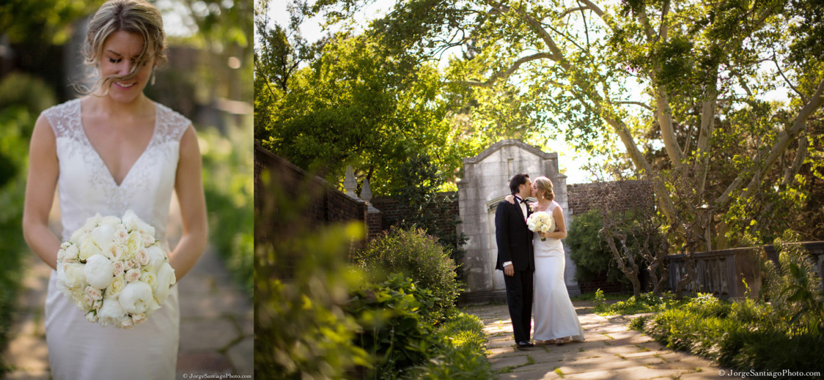 Duquesne University Ballroom Pittsburgh Wedding: Bride and Groom in Gardens