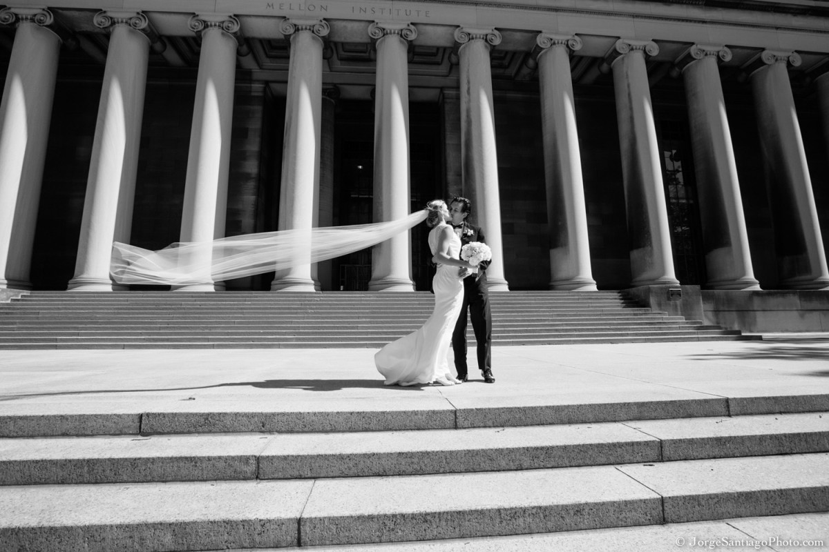 Duquesne University Ballroom Pittsburgh Wedding: Newlyweds Kiss on City Steps