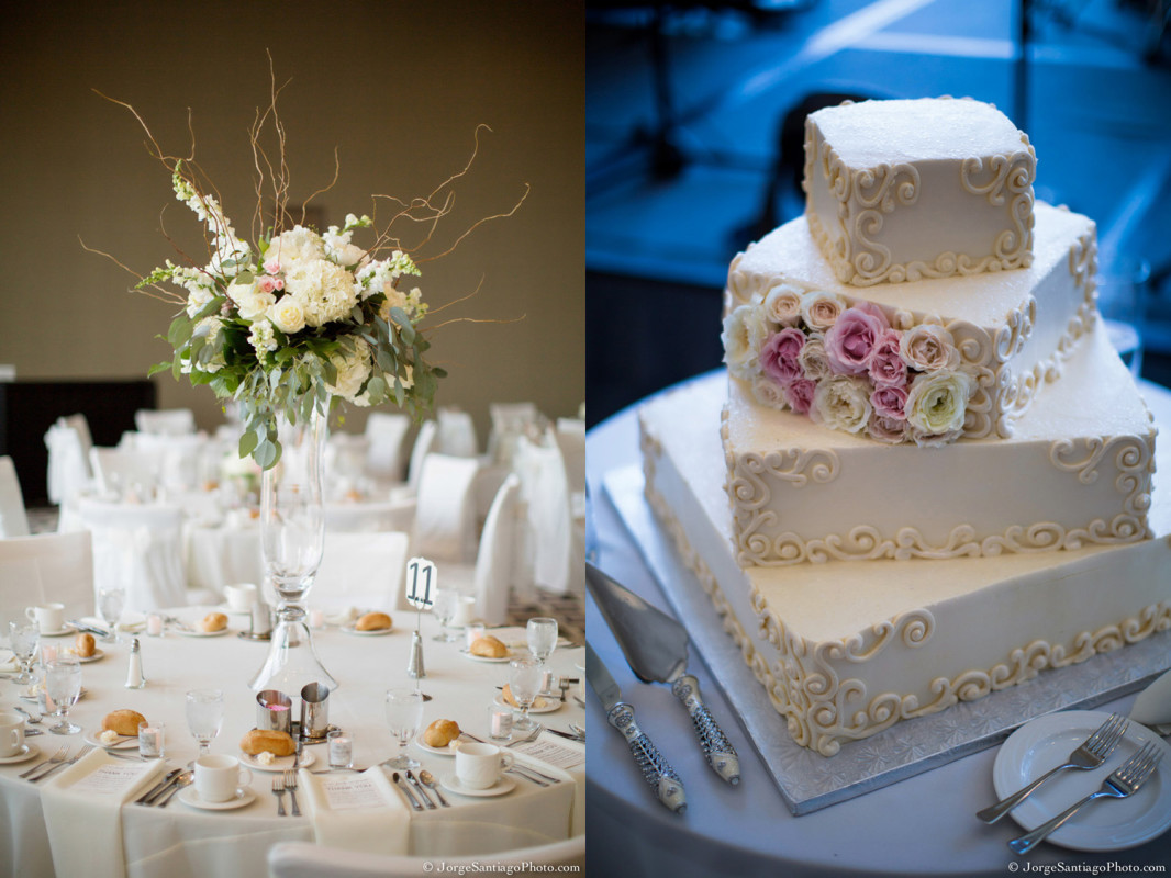 Duquesne University Ballroom Pittsburgh Wedding Reception: Elegant White Cake and Decor