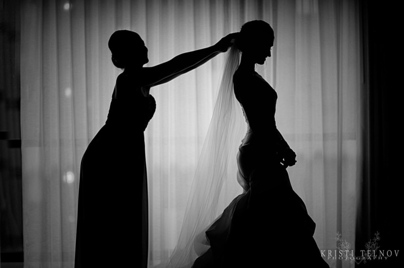 Renaissance Hotel Pittsburgh Wedding: Maid of Honor with Veil