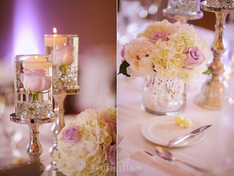 Renaissance Hotel Pittsburgh Wedding Reception: Floating Tea Light Candles