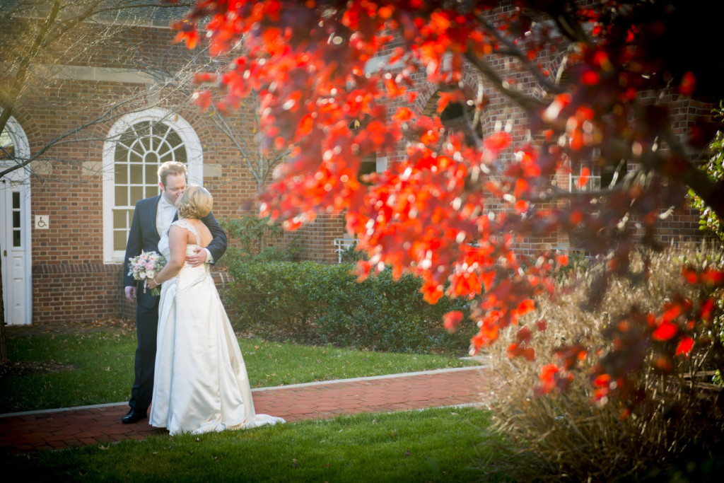 George Washington Hotel Pittsburgh Bride and Groom Autumn Outdoor Wedding Portrait