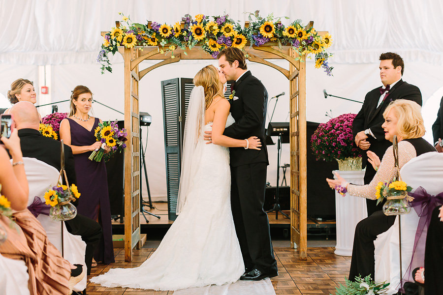 Wisp Resort McHenry MD Fall Wedding Reception Sunflower Arbor First Kiss
