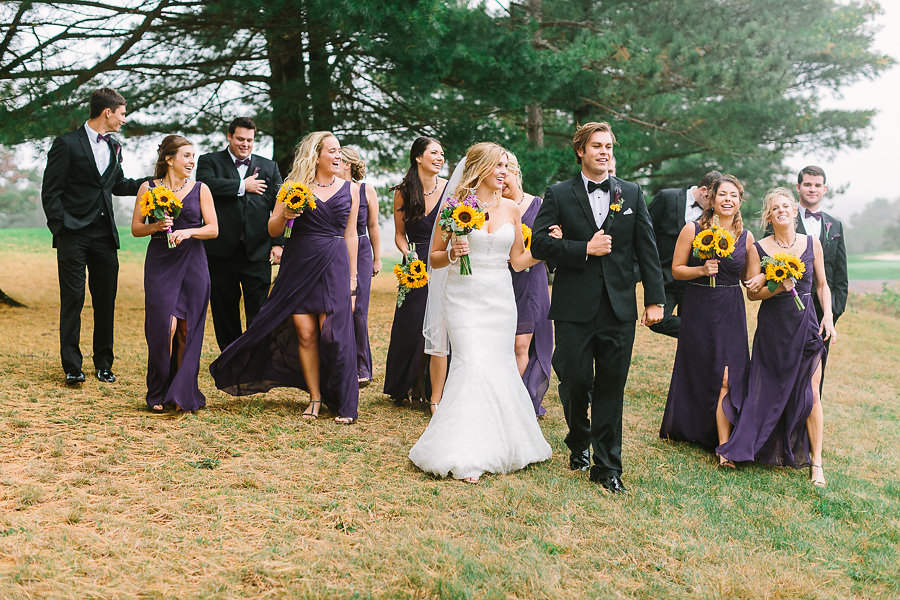 Wisp Resort McHenry MD Fall Outdoor Wedding Party Portrait Purple Bridesmaids Dresses
