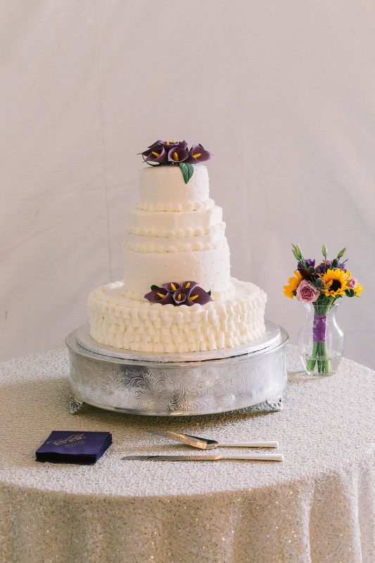 Wisp Resort McHenry MD Fall Wedding Cake with Sunflowers and Iris