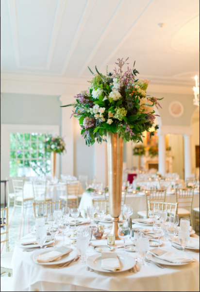Fox Chapel Golf Club Pittsburgh tall Hydrangea floral arrangements