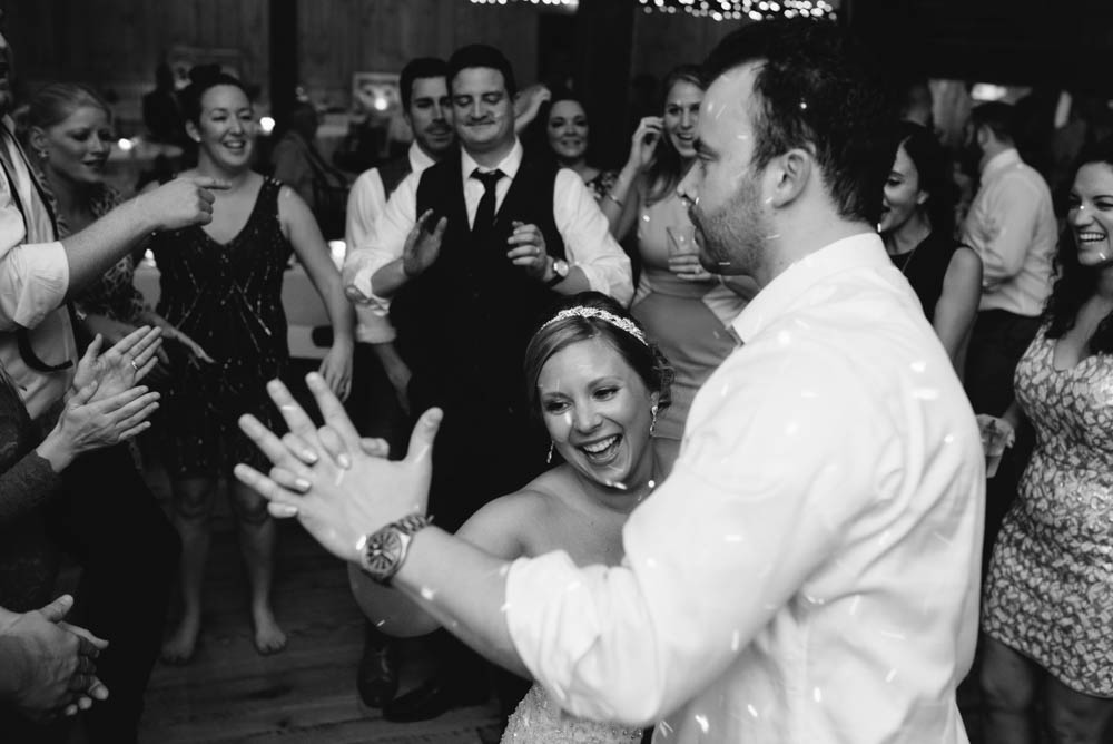 Pittsburgh White Barn Wedding Bride and Groom Dancing with Guests