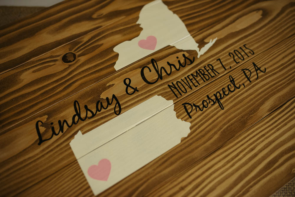 Pittsburgh White Barn DIY Wedding Ceremony Wooden State Detail