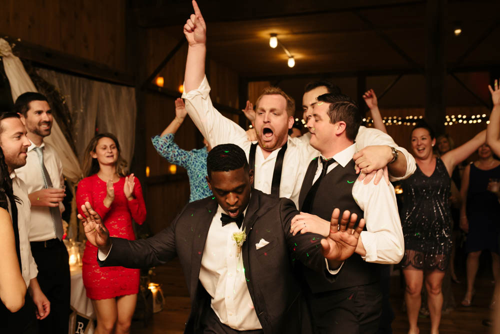 Pittsburgh White Barn Wedding Dreamscape Live Band Groomsmen Having Fun