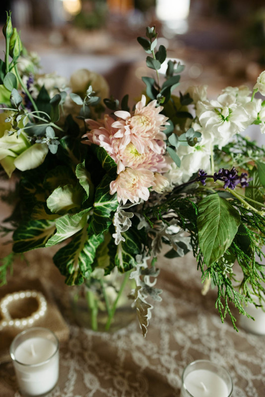 Pittsburgh White Barn Wedding Reception Natural Floral Arrangement