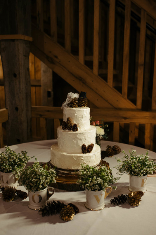 Pittsburgh White Barn Rustic Glam Pine Cone Three Tiered Wedding Cake