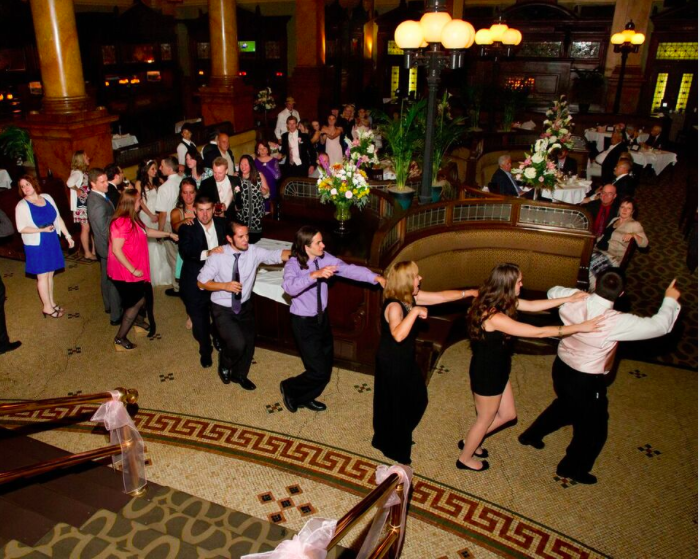 Grand Concourse Station Square Dreamscape Band Train Dance Fun at Wedding Reception