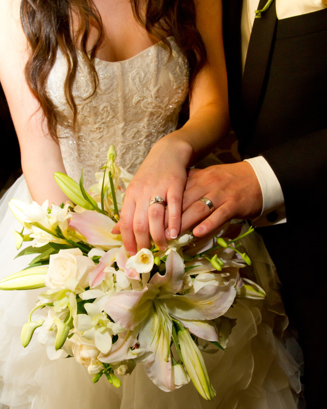 Grand Concourse Station Square Pittsburgh Bride and Groom Ring Photo with Iris Bridal Bouquet