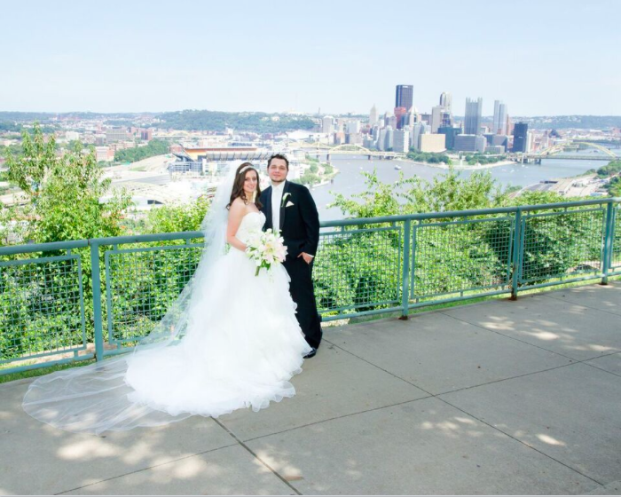 Grand Concourse Station Square Pittsburgh Bride and Groom Outdoor Portrait