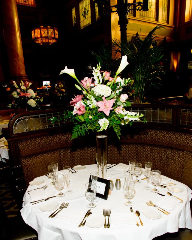 Grand Concourse Station Square Iris Floral Arrangements at Wedding Reception