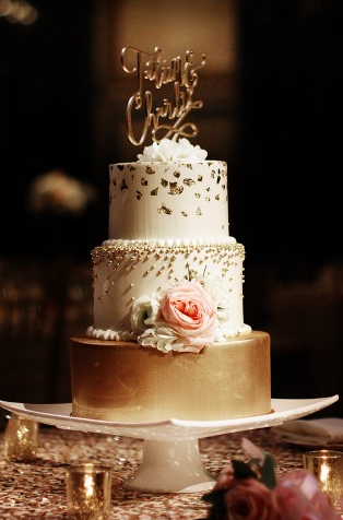 Carnegie Museum Pittsburgh Wedding Gold Cake