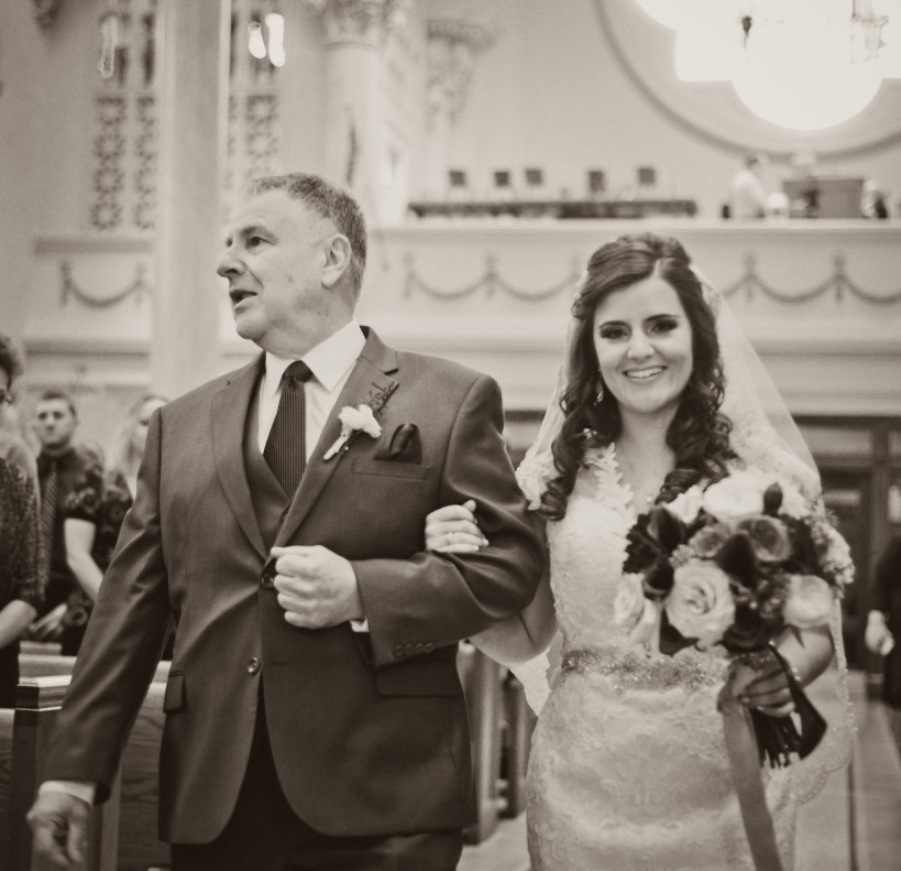Parkersburg Country Club West Virginia Wedding Ceremony Black and White