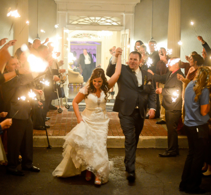Parkersburg Country Club West Virginia Wedding Bride and Groom Send Off