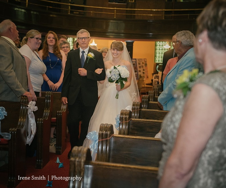 The Commons Franklin Pennsylvania Wedding Walking Down Aisle
