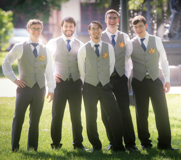 The Commons Franklin Pennsylvania Wedding Groomsmen Posing