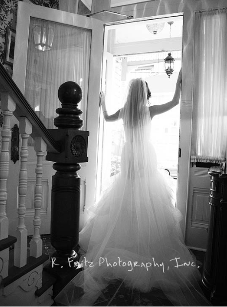 University Club Pittsburgh Wedding Bride in Doorway