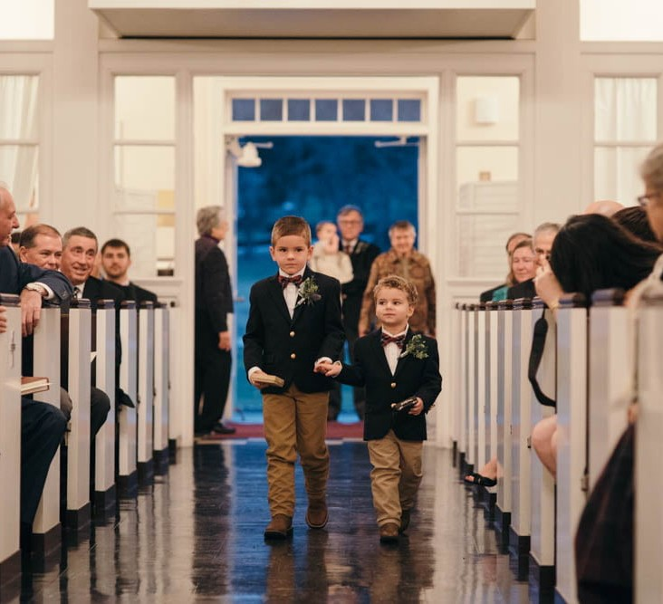 Country Club Pittsburgh Wedding Boys Walking Down Aisle
