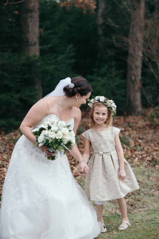 Country Club Pittsburgh Wedding Bride with Flower girl