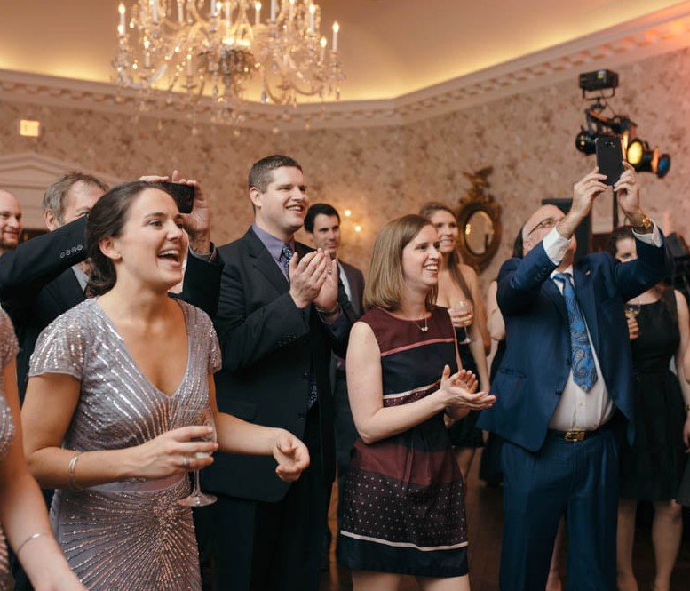 Country Club Pittsburgh Wedding Guests Cheering