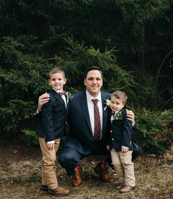 Country Club Pittsburgh Wedding Groom with Two Boys