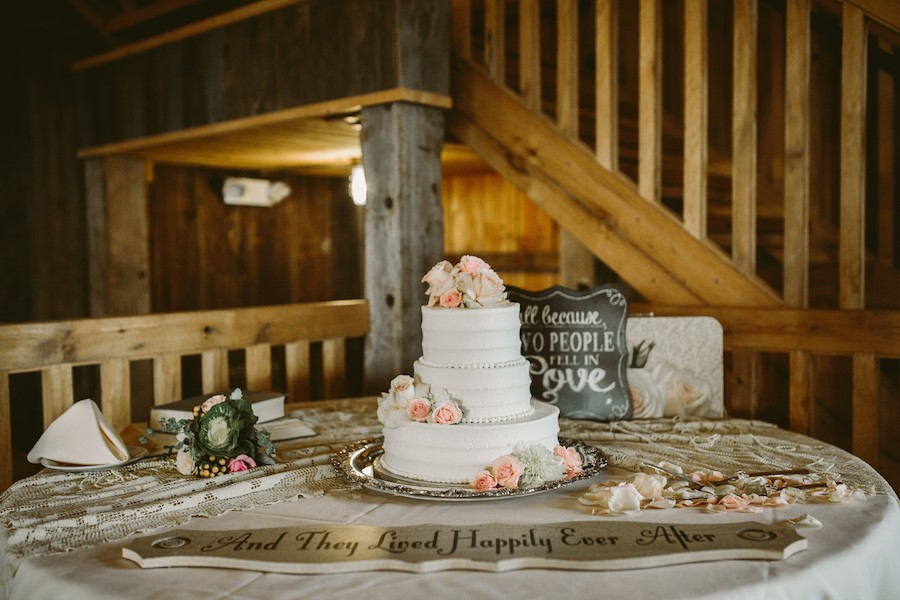 White Barn Pittsburgh Wedding Pink and White Wedding Cake