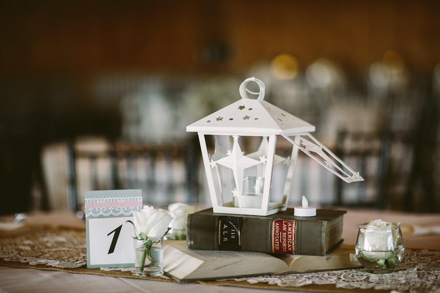 White Barn Pittsburgh Wedding Lantern Centerpiece