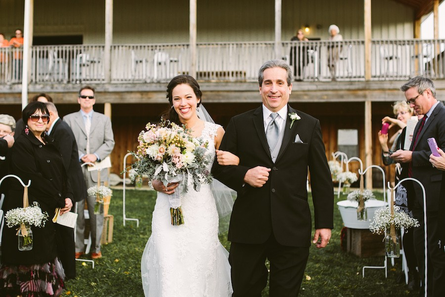 White Barn Pittsburgh Wedding Bride Walking Aisle