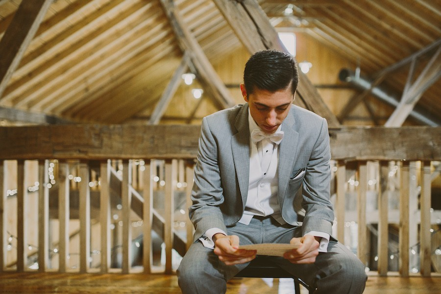 White Barn Pittsburgh Wedding Groom Reading