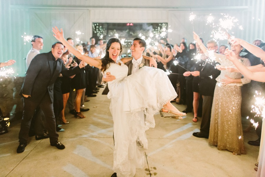 White Barn Pittsburgh Wedding Sparkler Send Off