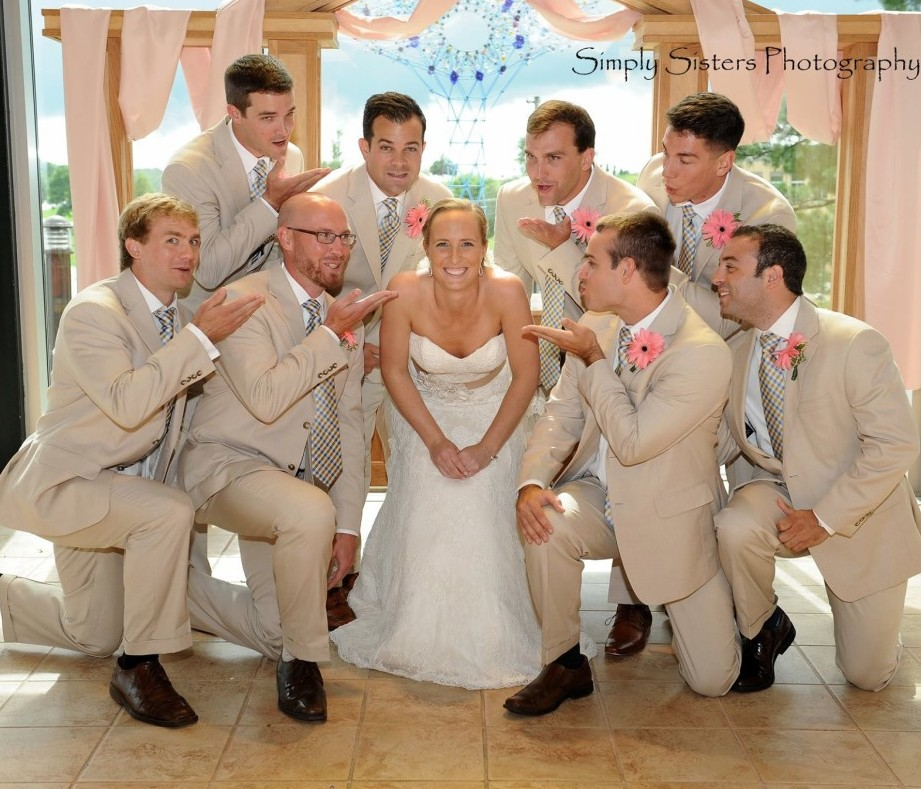 Memorial Hall Pittsburgh Wedding Formal Shot Bride and Groomsmen
