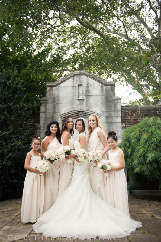 University Club Pittsburgh Wedding Formal Bridesmaids Outdoors