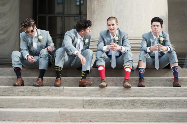 University Club Pittsburgh Wedding Groomsmen Wearing Fun Socks