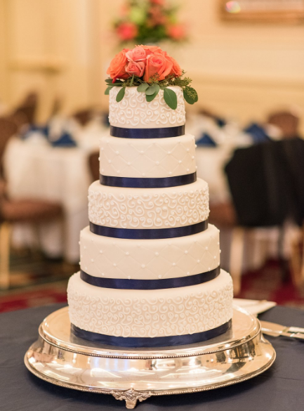 Ambassador Center Pittsburgh Wedding Blue Satin Cake