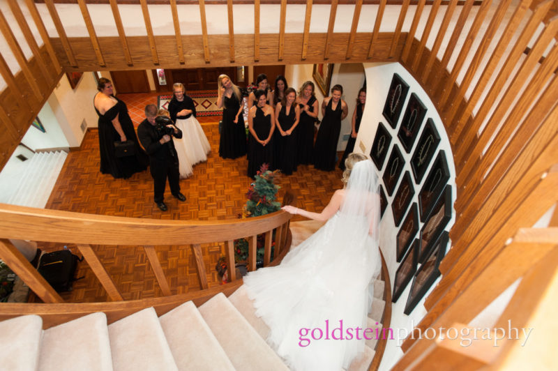 Bride walks down steps to meet Bridesmaids before Pittsburgh Wedding